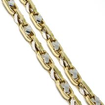 """18K YELLOW WHITE GOLD CHAIN, BIG OVAL CABLE SQUARED ALTERNATE LINK 7mm, 24"""" image 3"""