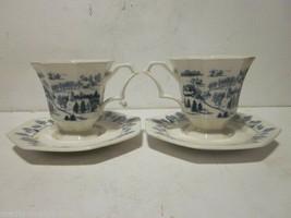 2 VINTAGE NIKKO BLUE & WHITE IRONSTONE TOWN WINTER SCENE TEA CUPS & SAUC... - $9.99