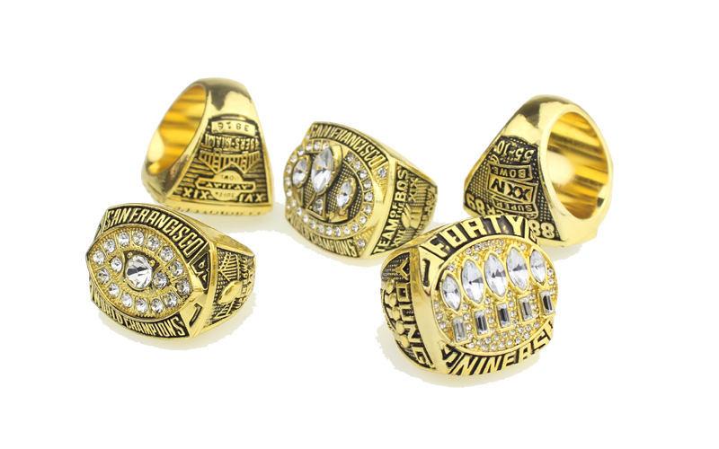 San Francisco 49ers Super Bowl Championship Rings Set (Size 11) In Display Box