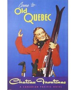 Come to old Quebec Chateau Frontenac a Canadian Pacific Hotel - Framed P... - $32.50