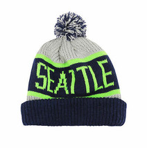 Seattle Seahawks Two Tone Warm Winter Cuffed Knit Hat Sport Pom Ski Beanie Cap image 2