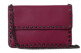 NEW VALENTINO Garavani Rockstud Leather Clutch Crossbody Bag - $1,087.58