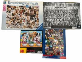 Lot of 4 Jigsaw Puzzle  1000PC 350PC Puppy Ravensburger Dog Marvel Avengers image 1