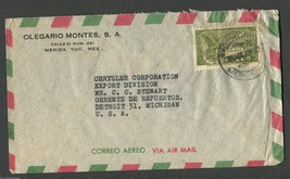1930s Canceled Mexico Air Mail Envelope with 1 stamp YT:MX PA64 - $7.50