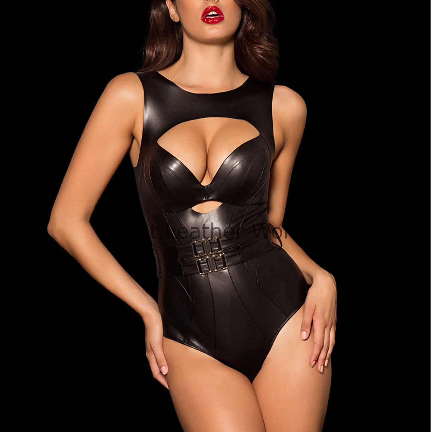 SEXY STUNNING HOT REAL GENUINE LEATHER WOMEN LEATHER BODYSUIT LEATHER PLAYSUIT