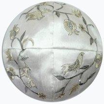 Judaica Kippah White Silver Gold Birds Embroidered Yarmulke Yamaka 22 cm