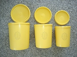 Vtg Tupperware 6 Pc Servalier Canister Set Canary Yellow VGC - $20.50