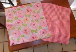 Pair of Pink Flower Print Decorative Print Throw Pillows  16 x 16 - $49.95