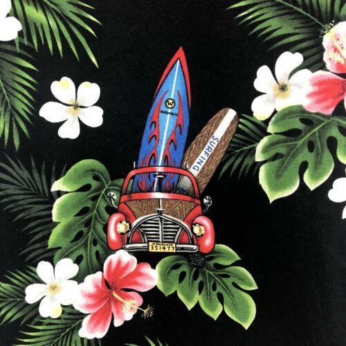 Royal Creations Hawaiian Shirt Mens XL Woody Cars Surf Boards Hibiscus Aloha
