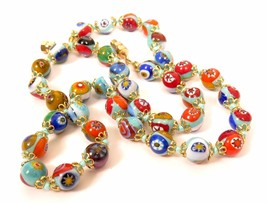 Vintage Venetian Murano Art Glass Millefiore Bead Colorful Necklace*18.5... - $74.20