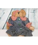 BOYDS BEARS BONNIE IN BLUE DENIM DRESS W/ RED CHECKERED TRIM STYLE # 913951 - $12.86