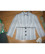 Ladies Speechless Suit Jacket Blazer Black White Stripe Tie Back Cute Si... - $15.67