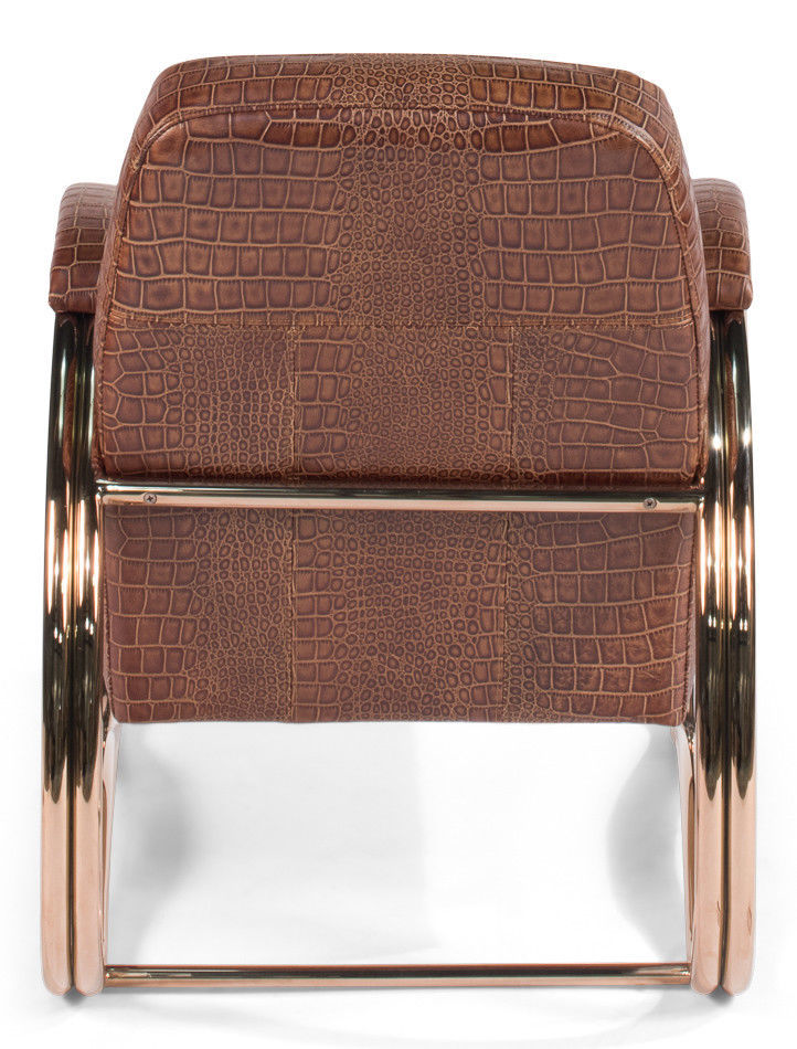 Steel Frame Top Grain Vuiton Vintage Brown Leather Chair,26'' x 32''H