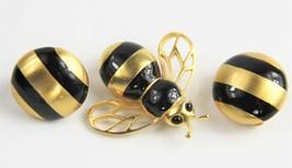 ESTATE VINTAGE Jewelry HIGH END CAROLEE FIGURAL BEE BROOCH STRIPED EARRI... - $100.00