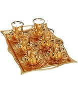 SALE (Set for 6) Turkish Tea Decorated Glasses with Brass Holders Tray S... - $63.00