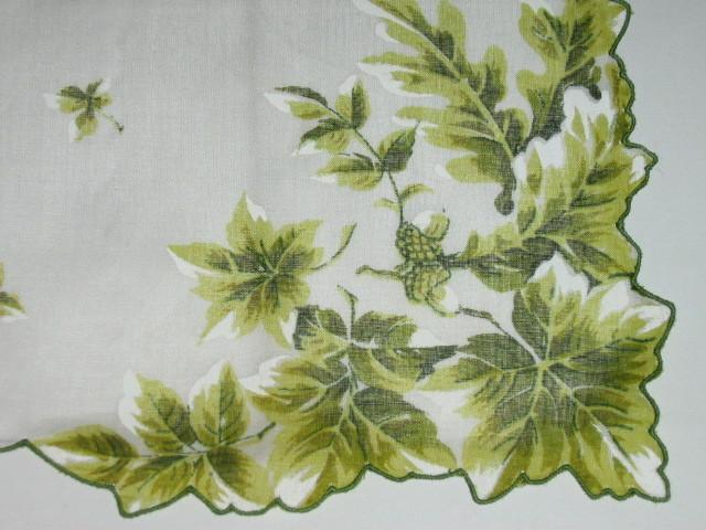 Vintage Unused Oak Leaf Acorn Hankie - Label Still Attached