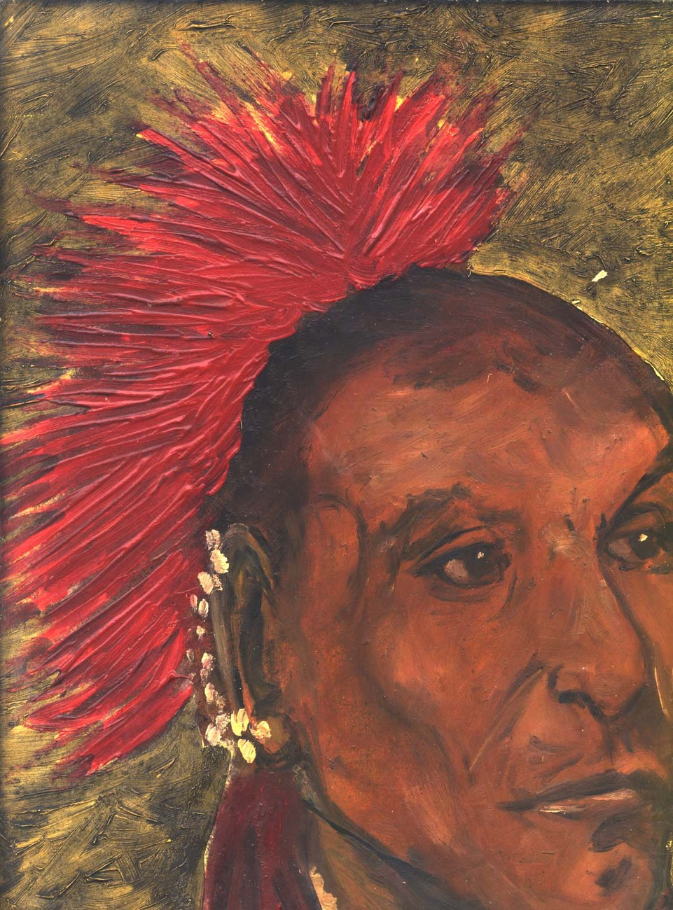 VERY VINTAGE OIL PORTRAIT OF A NATIVE AMERICAN UNKNOWN ARTI