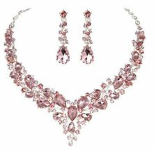 Stunning Austrian Crystal Necklace and Earrings Set, Pink image 4