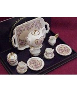 DOLLHOUSE MINIATURE Tea Set /2 Classic Rose Reu... - $35.50