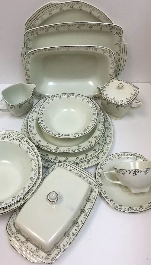 Vintage Homer Laughlin 58 Piece Service For 8 Jade Silver-Rare