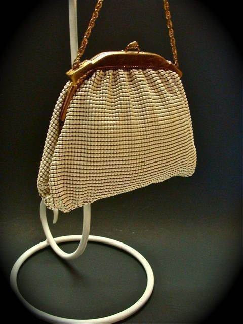 WHITING & DAVIS EMAMEL MESH HANDBAG PURSE BAG CLUTCH