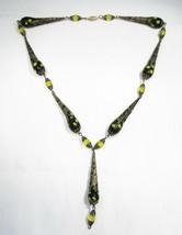 Estate Vintage Filigree Black Yellow Bead Lavalier Necklace C1932 - $38.61