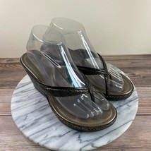 Cole Haan NikeAir Brown Leather Snakeskin Strap Thong Wedge Sandals Women Size 6 - $29.95