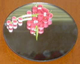 Handcrafted Paper Quill Pink Flower Magnet Mirror - $15.99