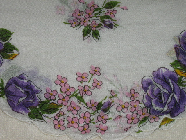 Vintage Round Handkerchief -  Lovely Purple & Pink Floral