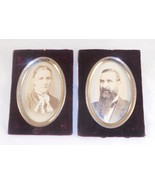 2 Antique Black and White Photographs Man & Woman In Velour & Oval Metal... - $50.00