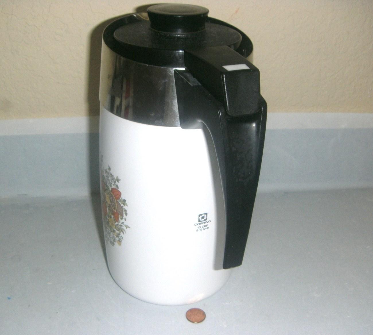Vintage Corning Coffee 10 Cup Electric Percolator E-1210-8