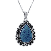Lava Stone Diffuser Pendant with Clay Water Drop Necklace For Women Free... - $9.38