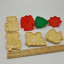 Hutzler Plastic Cookie Biscuit Cutters Lot 7 Christmas Fish Car Train Be... - $8.49