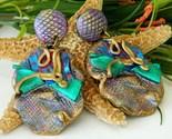 Vintage artisan handmade earrings dangle clips purple runway thumb155 crop