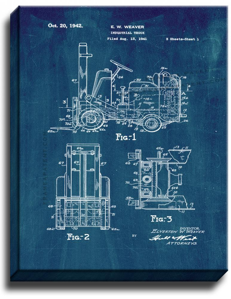 Primary image for Forklift Patent Print Midnight Blue on Canvas