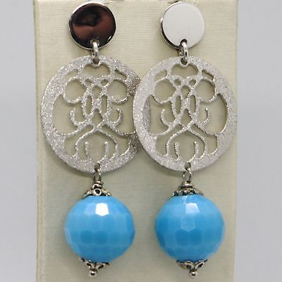EARRINGS SILVER 925 TRIED AND TESTED WITH GIADA BLUE FACETED AND DISK PERFORATED