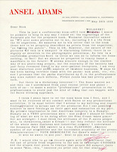 Emotional 1958 Ansel Adams Letter About Polaroid Photography Autograph S... - $3,204.75