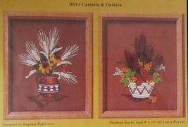 1984 Creative Circle Cattails & Daisies Crewel Embroidery KIT Each 8 x 1... - $15.99