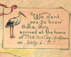 New Baby Arrival Vintage 1917 Birth Announcement Post Card