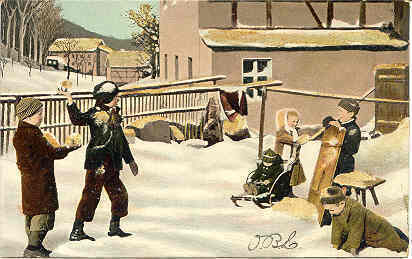 Snow Ball Fight German Vintage Post Card