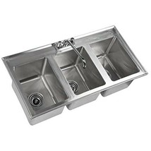 """3-Compartment 37"""" x 19"""" Stainless Steel Kitchen Drop-In Sink 10"""" x 14"""" x 10"""" - $405.89"""