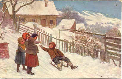 Riding Mein Sled Vintage 1909 German Post Card