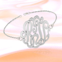 Monogram Bracelet 7 inch Sterling Silver with 3... - $64.99