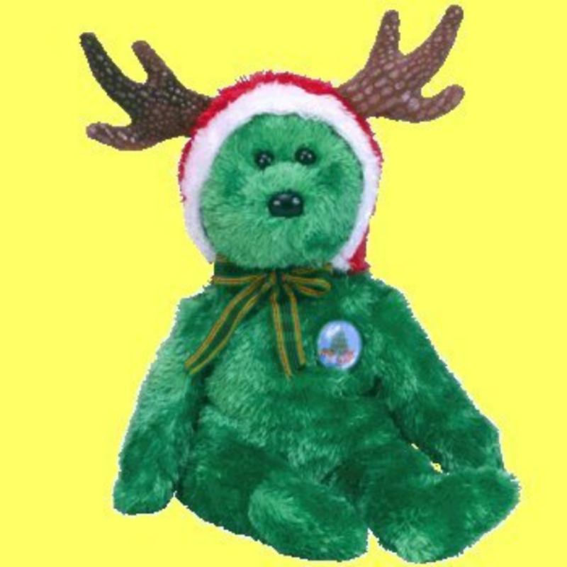 Ty Beanie Baby 2002 Holiday Teddy Green Bear Collectible