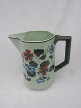 Vintage Floral Decorated Green Pottery Water Pitcher, Made in Germany - $9.99