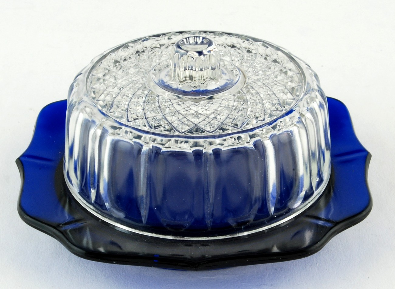 Primary image for Imperial Glass Kraft Small Cheese Butter Dish Cobalt Dish w Clear Lid