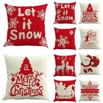 Christmas Pillow Case Santa Cotton Linen Sofa Car Throw Cushion Cover Ho... - $194,47 MXN