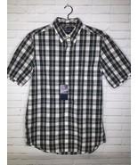 Chaps Mens Size S Lead Table White Black Plaid Short Sleeve Button Front... - $16.33