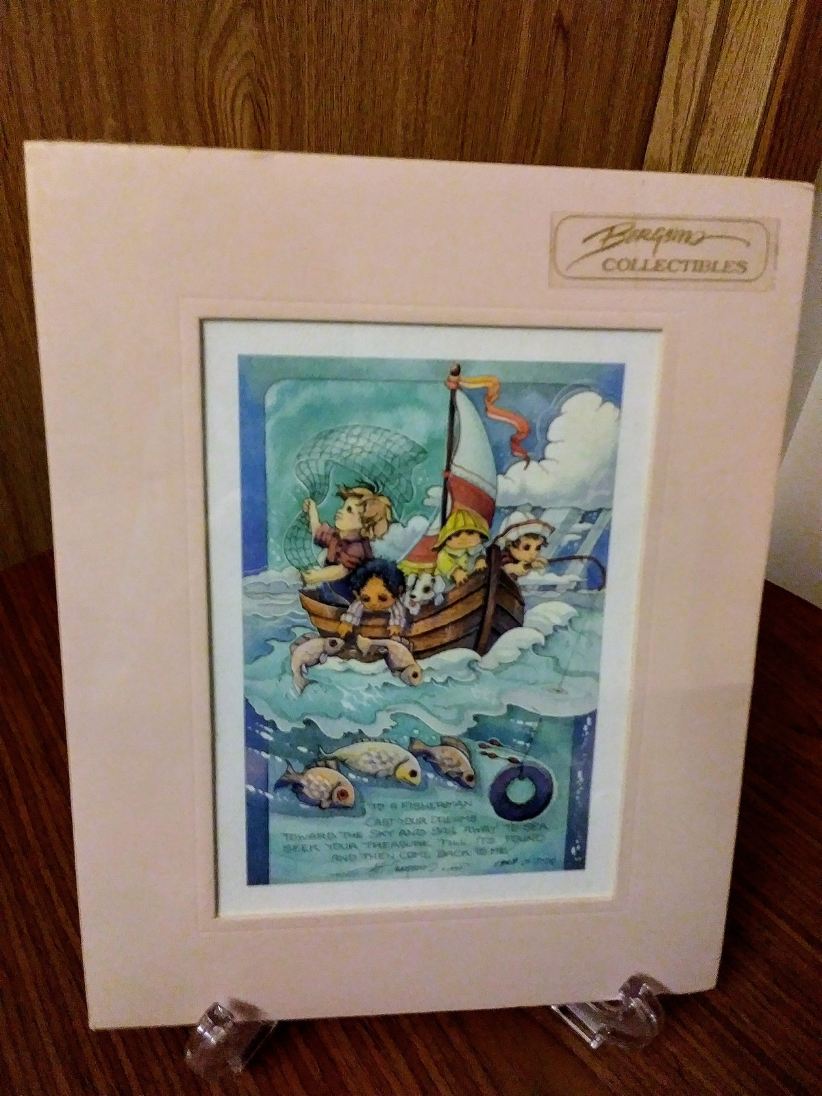 "Collectibles Whimsical ""To A Fisherman"" Signed 1990 Limited Lithographic  Waterc"