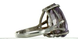 Ladies Size 7.25 Sterling Silver Large Natural Amethyst Fashion Ring No. 2154 image 5
